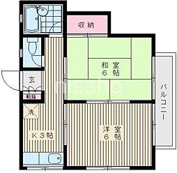 東京都中野区鷺宮1丁目の賃貸アパートの間取り