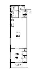 クリエオーレ太田1 2階2LDKの間取り