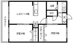 福岡県久留米市合川町の賃貸マンションの間取り