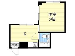 JR大阪環状線 京橋駅 徒歩11分の賃貸マンション 1階1Kの間取り