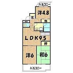ロイヤル二俣川B棟[105号室]の間取り