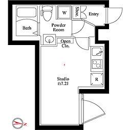 カサ ソフィア 4階ワンルームの間取り