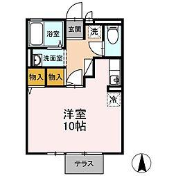 JR山陽本線 小月駅 徒歩16分の賃貸アパート 1階ワンルームの間取り