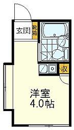 JR中央線 国立駅 徒歩7分の賃貸アパート 1階ワンルームの間取り
