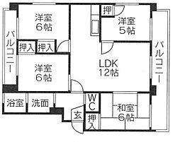 東櫛原35ビル(4LDK)[2階]の間取り