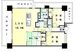 福岡県福岡市中央区荒津2丁目の賃貸マンションの間取り