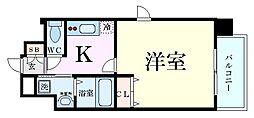 ALZA松ヶ枝II 4階1Kの間取り