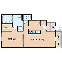 近鉄大阪線 桜井駅 徒歩8分の賃貸アパート 1階1LDKの間取り