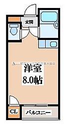 バーブルパークマンション 2階ワンルームの間取り