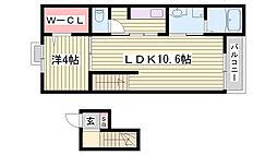 JR東海道・山陽本線 西明石駅 徒歩14分の賃貸マンション 4階1LDKの間取り