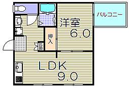 大阪府大阪市福島区海老江4丁目の賃貸アパートの間取り