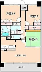 プラウド豊中南桜塚[3階]の間取り