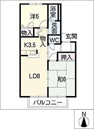 ロイヤル中平[1階]の間取り