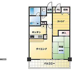 神奈川県横須賀市若松町2丁目の賃貸マンションの間取り