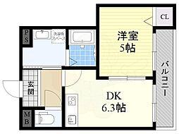 阪神本線 姫島駅 徒歩5分の賃貸アパート 2階1DKの間取り