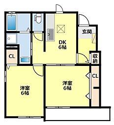 愛知県みよし市黒笹いずみ2丁目の賃貸アパートの間取り