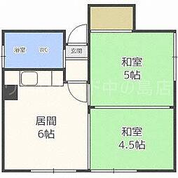 北海道札幌市豊平区平岸一条5丁目の賃貸アパートの間取り