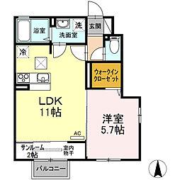 (仮称)D-room桜谷[101号室]の間取り