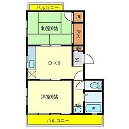 メイプルコ-ト若草[3階]の間取り