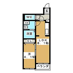 サンライズ江合錦町[1階]の間取り