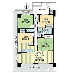 ライオンズマンション京都山科ガーデンシティ[5階]の間取り