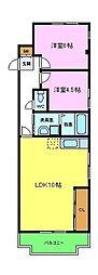 パークレジデンス北野田 3階2LDKの間取り