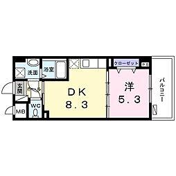 沖縄都市モノレール 首里駅 徒歩30分の賃貸マンション 3階1DKの間取り