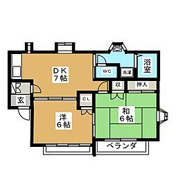 ハイツサンフラワーA[2階]の間取り