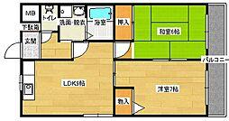 広島県広島市南区金屋町の賃貸マンションの間取り