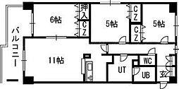 北海道札幌市東区北三十九条東20丁目の賃貸マンションの間取り