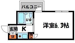 ビアリッツ守口 8階1Kの間取り