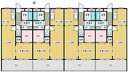 カレント江見II 3階1LDKの間取り