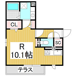メゾン・ド・メイユール 1階ワンルームの間取り