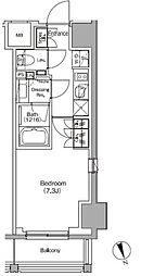 JR総武線 飯田橋駅 徒歩4分の賃貸マンション 10階1Kの間取り