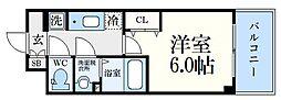 神戸高速東西線 新開地駅 徒歩6分の賃貸マンション 10階1Kの間取り