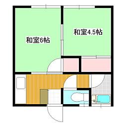 シナダハウス[2-B号室]の間取り