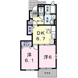 埼玉県日高市大字高萩の賃貸アパートの間取り