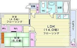 仙台市地下鉄東西線 連坊駅 徒歩8分の賃貸マンション 2階2LDKの間取り