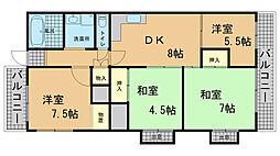 兵庫県神戸市北区泉台2丁目の賃貸マンションの間取り