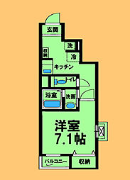 JR横浜線 相原駅 徒歩5分の賃貸アパート 2階1Kの間取り