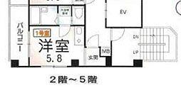 ランド・18綾瀬2丁目 4階ワンルームの間取り
