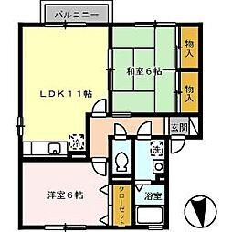 プラザ・ルミエール弐番館 E棟[E201号室]の間取り
