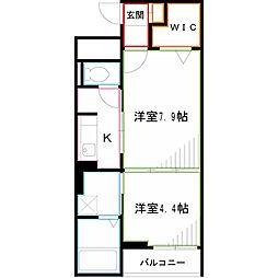 JR中央本線 武蔵境駅 徒歩25分の賃貸マンション 2階2Kの間取り