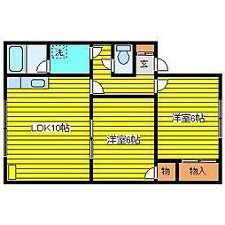 北海道札幌市東区東苗穂十一条2丁目の賃貸アパートの間取り