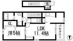 兵庫県伊丹市鋳物師4丁目の賃貸アパートの間取り