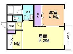 ユニbox.4 3階1LDKの間取り