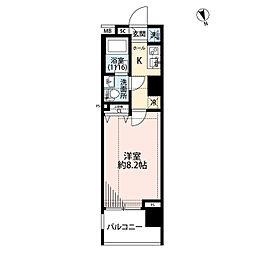 プレール・ドゥーク東新宿III 3階1Kの間取り