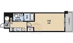 エスリード京橋ノースプレイス 4階1Kの間取り