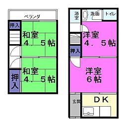 [一戸建] 大阪府東大阪市新庄1丁目 の賃貸【/】の間取り