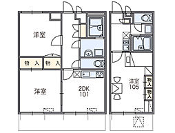 JR片町線(学研都市線) 藤阪駅 徒歩13分の賃貸マンション 2階1Kの間取り